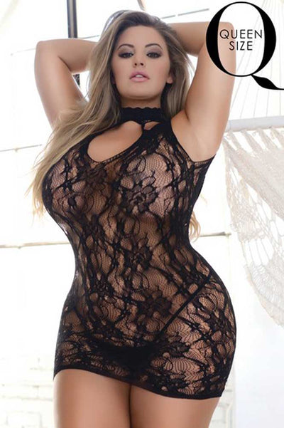 Plus Size Choker Neck Bodystocking | Fishnet Body Stocking | Coy Fox