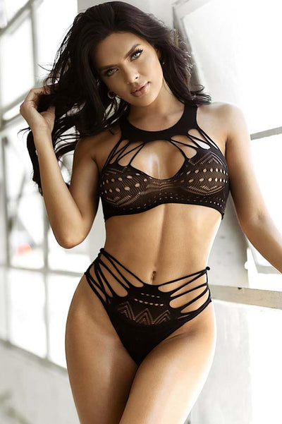 Tribal Two Piece Body Stocking | Black Two Piece Bra and Panty Set | Coy Fox