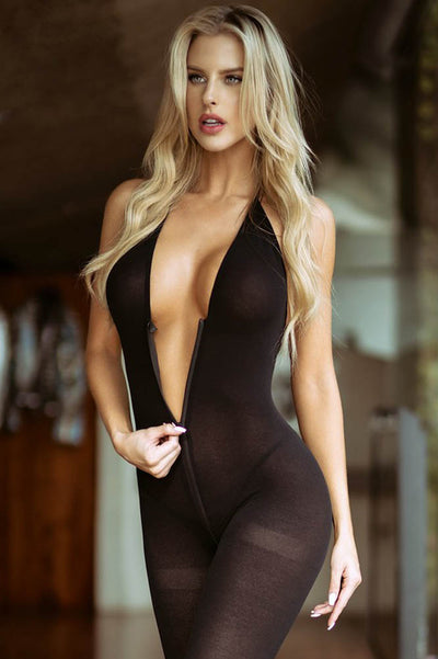 Black Zip Front Bodystocking | Black Plunge Front Body Stocking | Coy Fox Boutique