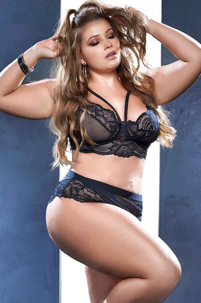 Plus Size Mesh Bra Set | Leather Bra and Panty Set | Black Lingerie | Coy Fox