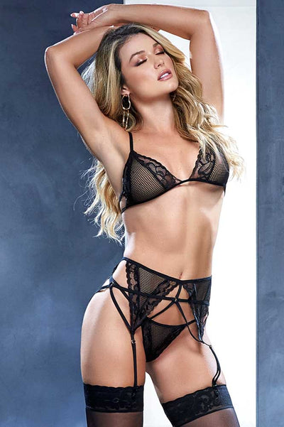 Mesh Bralette and Garter Set | Mesh Bra and Panty Set | Black Lingerie | Coy Fox