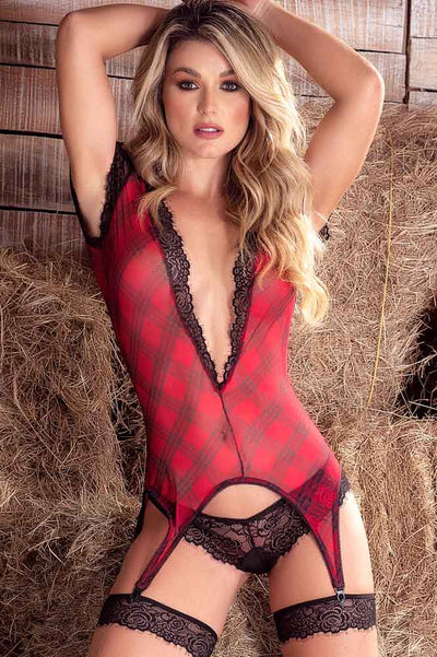 Red and Black Plaid Lingerie Set | Four Piece Lingerie Set | Plaid Lingerie | Coy Fox Boutique