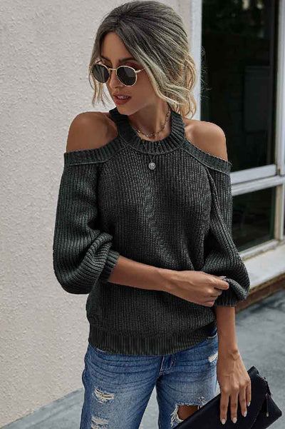 Charcoal Off Shoulder Sweater | Long Sleeve Sweater | Loose Knit Sweater