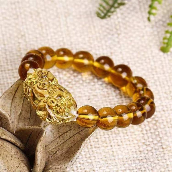 Feng Shui Yellow Crystal Bracelet Pi Yao Pi Xiu Auspicious Feng Shui Bracelet Beads for Wealth and Good Luck