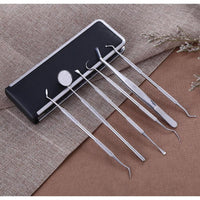 Oral Care Dental Pick Hygiene Set of 6 Pcs Dentist Tools Tooth Tartar Remover Picker Scaler Mirror Stainless Steel Teeth Clean Probe for Preliminary Dental Care