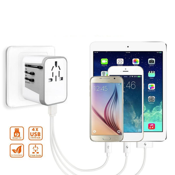 Universal Travel Charger, Portable Adapter with Surge Protection for US, UK, EU & Asia Plugs