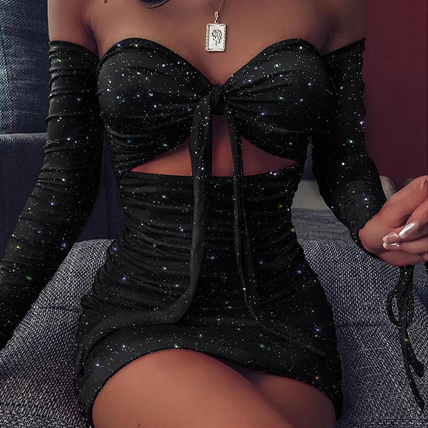 NORMOV Glamorous Sexy Outfit Women's Strapless Bodycon Dress Hollow Out Long Sleeve Solid Pleated Bandage Dress $20.79 - $39.57
