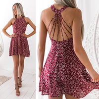 Floral Print Boho Beach Dress Short Sleeve Halter Neck Sundress Summer 2020 Robe Vestidos