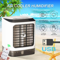 Mini Cordless Air Conditioner with Remote Controller, USB Desktop Air Cooler with 7-Colours MoodLight
