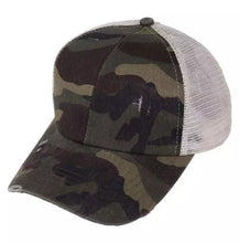 Load image into Gallery viewer, Criss Cross Ponytail Camo Cap