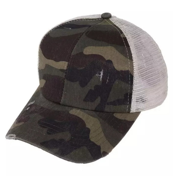 Criss Cross Ponytail Camo Cap