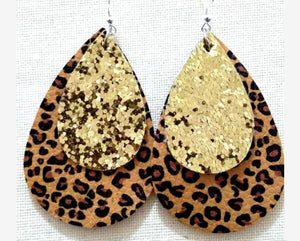 Gold Glitter Layer Leopard Print Teardrop Earrings