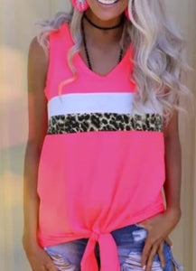 Neon Pink Leopard Sleeveless Top