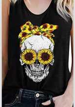 Load image into Gallery viewer, Sunflower Black Skull Print Tank Top