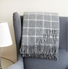 Personalised Grey Check Wool Blanket
