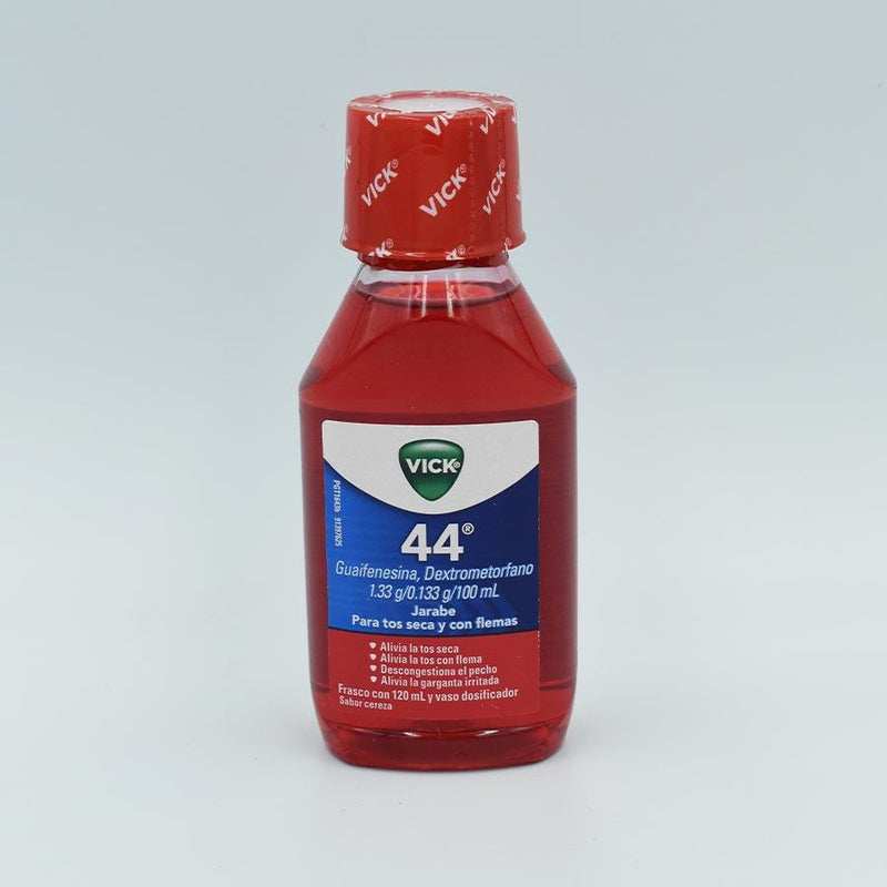VICK 44 ADULTO FRASCO CON 120 ML SABOR CEREZA (GUAIFENESINA, DEXTROMETORFANO 1.33G/0.133G/100ML)