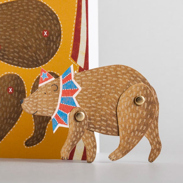 circus Bear puppet from alice melvin cut out and make card