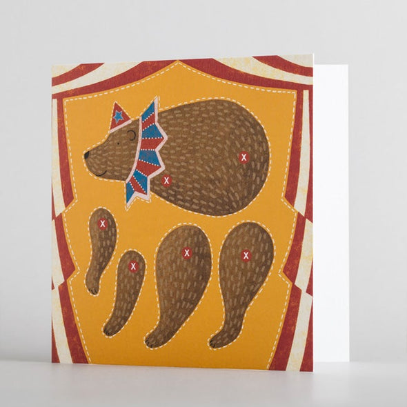 Kids circus bear puppet card by alice melvin to cut out and make