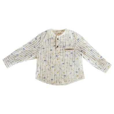 Fin & Zee - Golden Stars and Grey Stripes Shirt