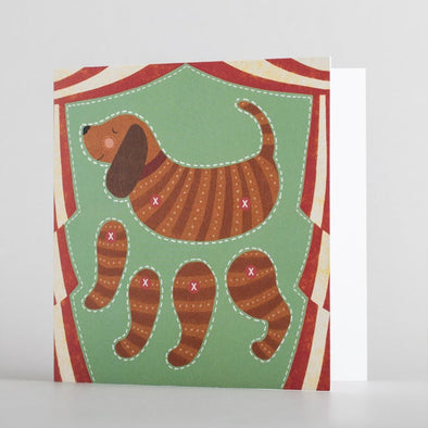 Kids dog puppet card by alice melvin to cut out and make