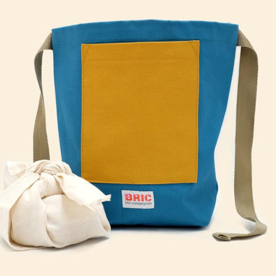 Bric - Furoshiki Pocket Lunch Bag - Teal & Gorse Yellow