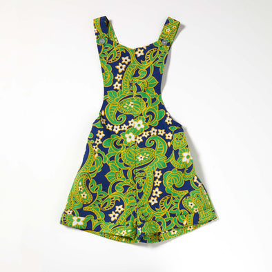 Great & Good Vintage - Unworn Cotton Playsuit in Green & Navy Paisley - Age 4-5