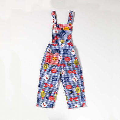 Great & Good Vintage - Unworn Stop / Go Cotton Dungarees Blue- Age 1-1.5