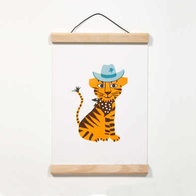 cute tiger illustration oak poster hanger petra boase