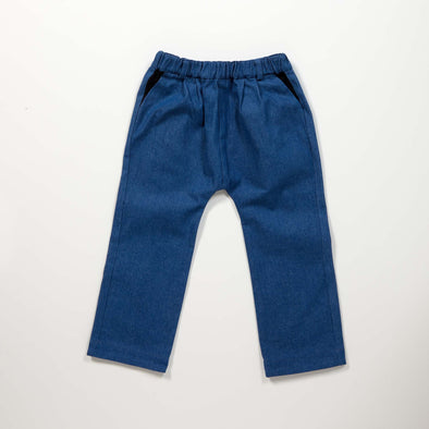 Fin & Zee - Denim Trousers with Detachable Braces - Mid Wash
