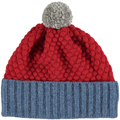 Catherine Tough - Merino Lambswool Hat - Denim / Red
