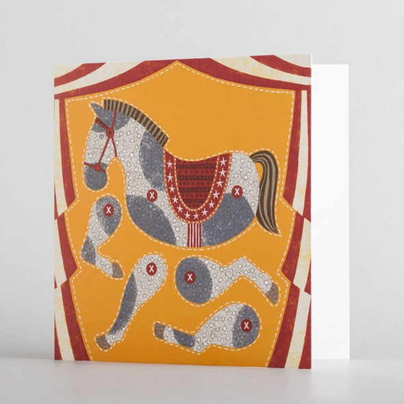 Kids horse illustrated puppet card by alice melvin to cut out and make