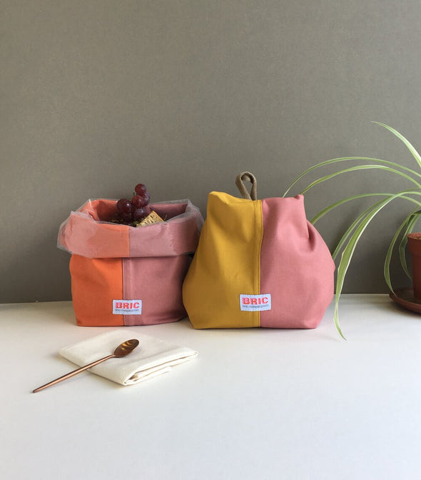 Bric - Classic Lunch Bag - Burnt Orange & Dusty Pink