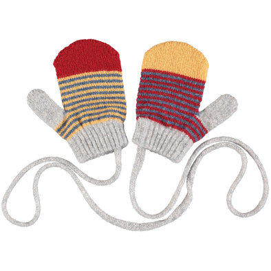 Catherine Tough - Stripy Lambswool Mittens - Denim / Red - 2-4yrs