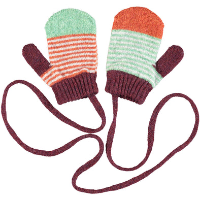 Catherine Tough - Stripy Lambswool Mittens - Mint / Rust - 2-4yrs