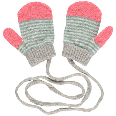 Catherine Tough - Stripy Lambswool Mittens - Petal Pink / Sage