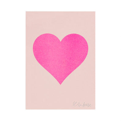Petra Boase - Pink Heart on Blush Riso Print - A4