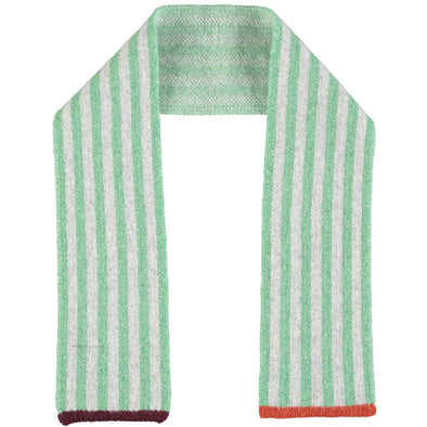 Catherine Tough - Stripy Lambswool Scarf - Mint / Rust / Grey