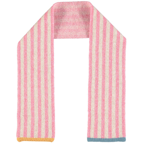 Catherine Tough - Stripy Merino Lambswool Scarf - Pink / Oat / Smoky Blue