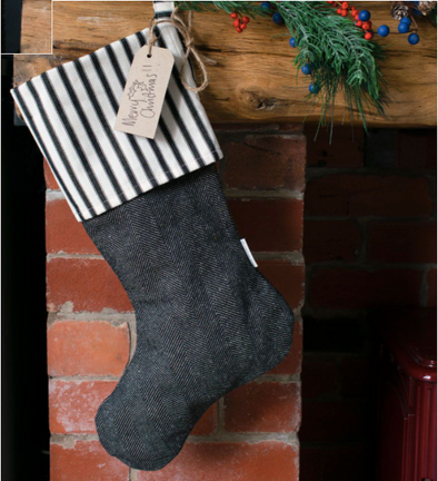 Ian Mankin - Christmas Stocking - Monochrome Stripe