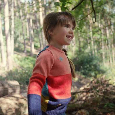 The Faraway Gang - The Stargazer Jumper - Pink / Red / Navy - 100% Merino