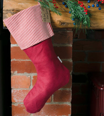 Ian Mankin - Christmas Stocking - Cranberry Stripe