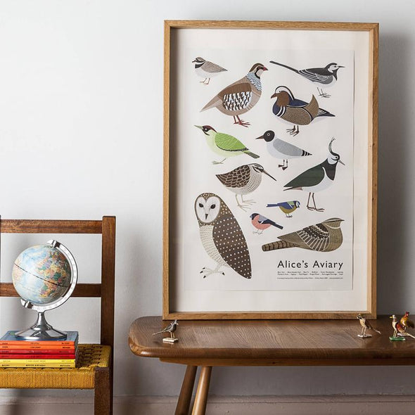 Framed print of british birds by Alice Melvin lifestyle shot