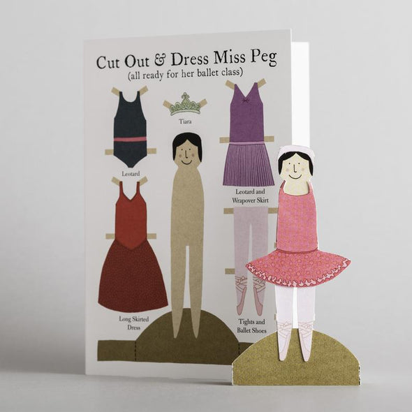 Cut out and make peg card paper doll ballerina