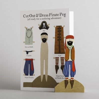 Cut out and make peg card paper doll pirate