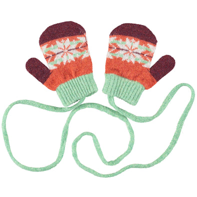Catherine Tough - Fair Isle Lambswool Mittens - Mint / Rust - 2-4yrs
