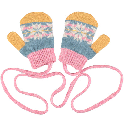 Catherine Tough - Fair Isle Lambswool Mittens - Pink / Smoky Blue - 2-4yrs