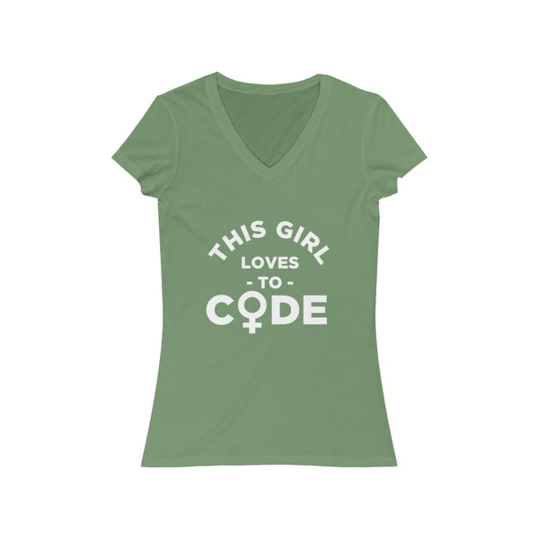 This Girl Loves to Code  – Women's V-Neck Tee