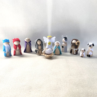 Adorable 12 pc Peg Doll Nativity Set (unfinished or finished)