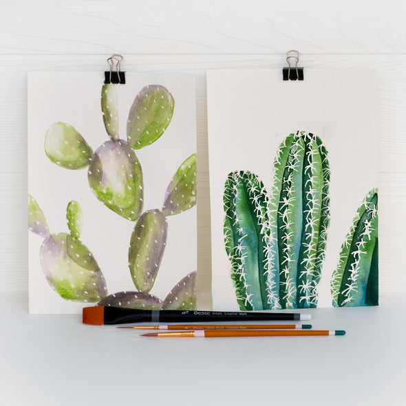 Learn to Watercolor: Cactus (Watercolor Kit + Video)
