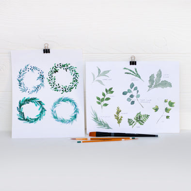 Learn to Watercolor: Leaves & Laurels (Watercolor Kit + Video)